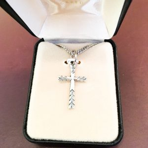 Silver Cross Pendant with Chain in Gift Box