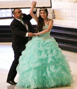 The Father-Daughter Dance at the Quinceanera celebration.