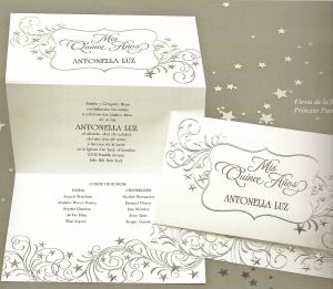 Quinceanera Invitation embossed with silver stars