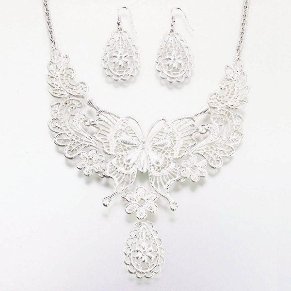 Butterfly Jewelry Set in Silver