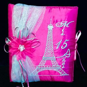 Paris Party Guest Book in Fuchsia