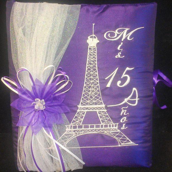 Paris Party Guest Book in Purple