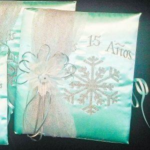 Snowflake Magic Guest Book in Aqua