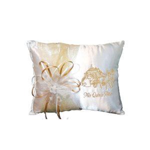 Pumpkin Coach Tiara Pillow in White and Gold