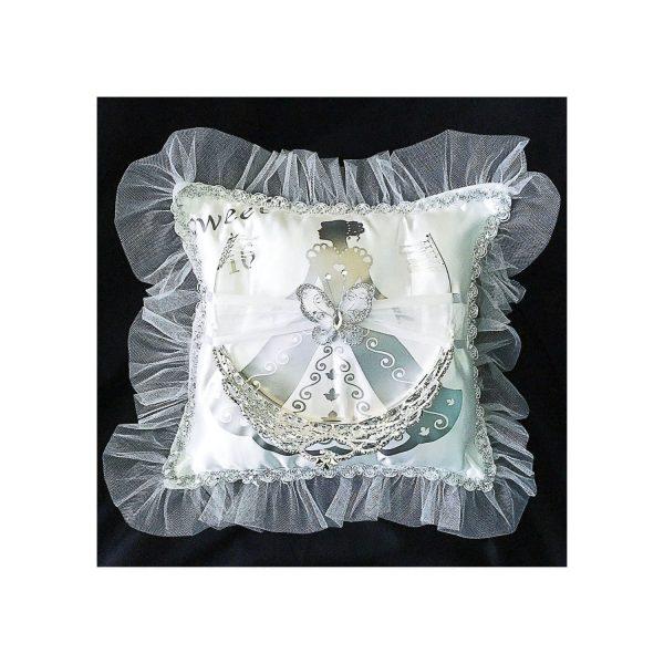 Debutante Pillow for the Tiara in Silver with Tiara