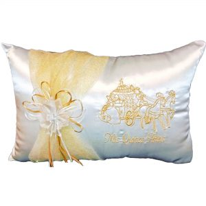 Pumpkin Coach Kneeling Pillow in White and Gold