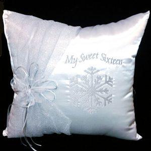 Snowflake Magic Kneeling Pillow in White