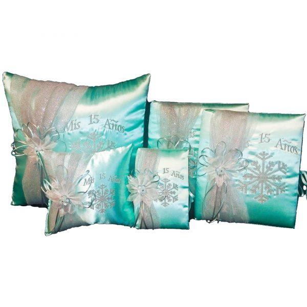 Snowflake Magic Quinceanera Set in Aqua