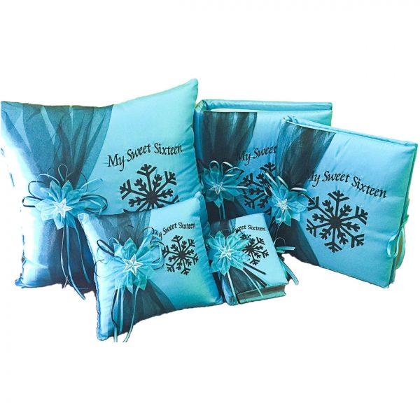 Snowflake Magic Quinceanera Set in Turquoise