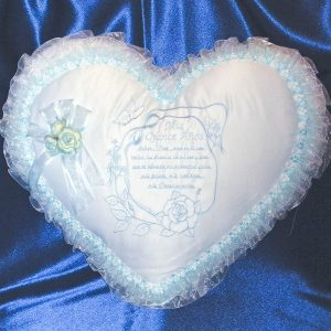 Kneeling Pillow with Quinceanera Prayer in Baby Blue