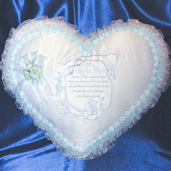 Kneeling Pillow with Quinceanera Prayer in Baby Blue