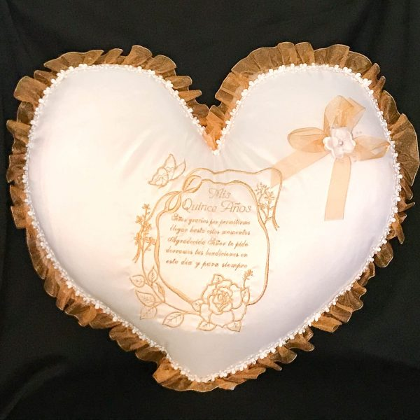 Kneeling Pillow with Quinceanera Prayer in Gold