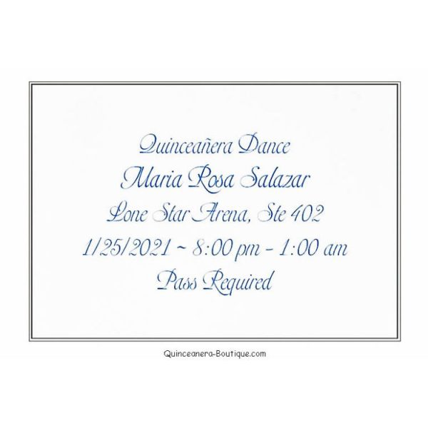 Dance Card for Quinceanera