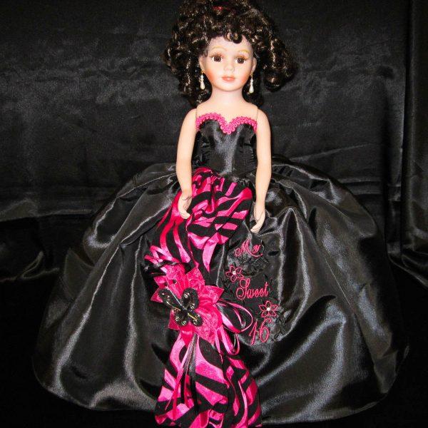 Quinceanera Zebra Doll