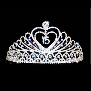 Double Heart Tiara with 15