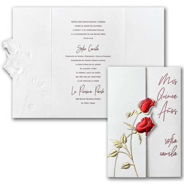 Red Roses Invitation for Quinceanera or Sweet 16