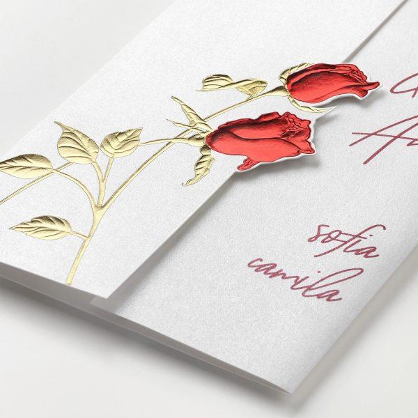 Red Roses Invitation - Closeup