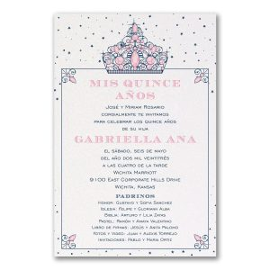 Shimmering Tiaras Quinceanera and Sweet 16 Invitation