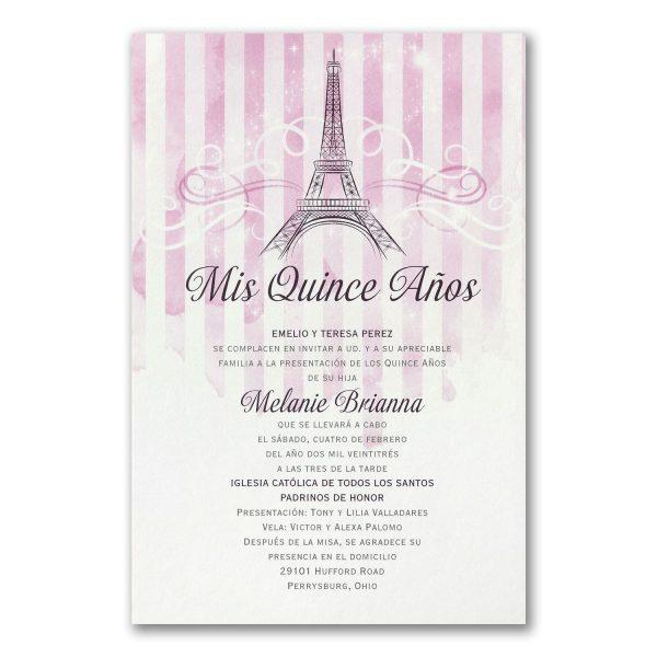 PARIS PARTY Quinceanera or Sweet 16 Invitation