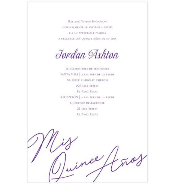Quince Birthday Invitation in Purple