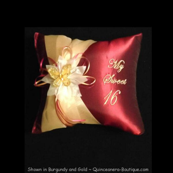 Celebration Tiara Pillow in Burgundy & Gold