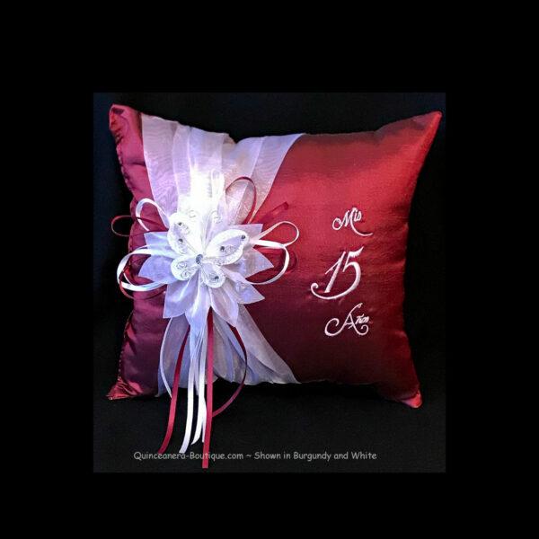 Celebration Pillow in Burgundy & White
