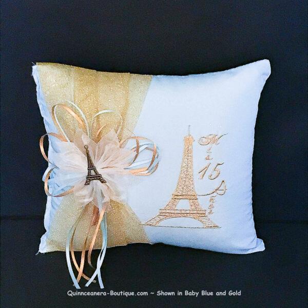 Paris Party Tiara Pillow in Baby Blue