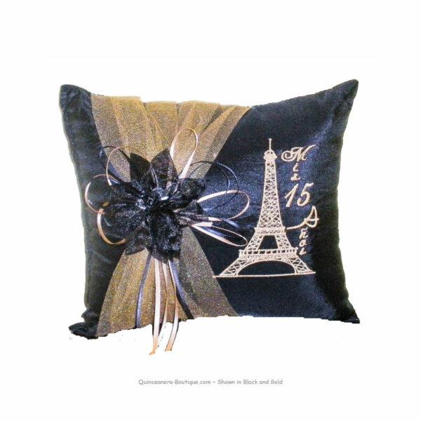 Paris Party Tiara Pillow in Black