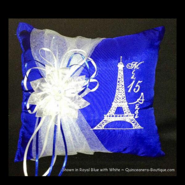 Paris Party Tiara Pillow in Royal Blue