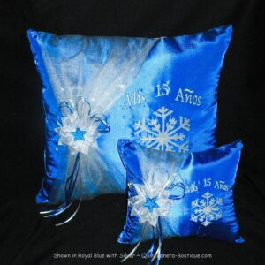 Snowflake Magic Ceremony Pillow Set in Royal Blue